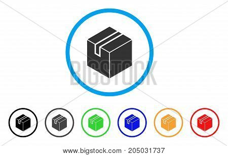 Product Package Box rounded icon. Style is a flat product package box grey symbol inside light blue circle with black, gray, green, blue, red, orange variants.
