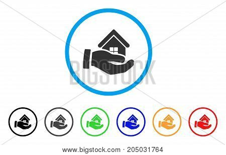 Realty Offer Hand rounded icon. Style is a flat realty offer hand grey symbol inside light blue circle with black, gray, green, blue, red, orange variants.