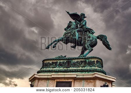 Statue of the Archduke Charles of Austria, Duke of Teschen on the Heldenplatz, Vienna, Austria