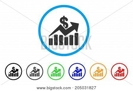 Sales Bar Chart Trend rounded icon. Style is a flat sales bar chart trend grey symbol inside light blue circle with black, gray, green, blue, red, orange variants.