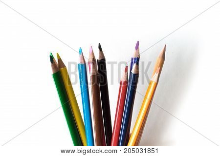 Foto of a pencil. Pencil for drawing. Stationery. The subject of the office. Small colored pencils.