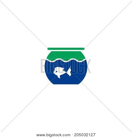 Aquarium flat icon. Single high quality symbol of line pet vector for web design or mobile app. Color sign of fish for design logo. Single pictogram on white background