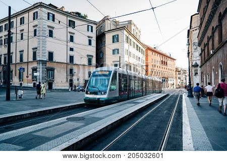 Rome, Italy - August 20, 2016:  Tram in Rome. The current Rome tram system does not currently function as a backbone of the city's public transport.