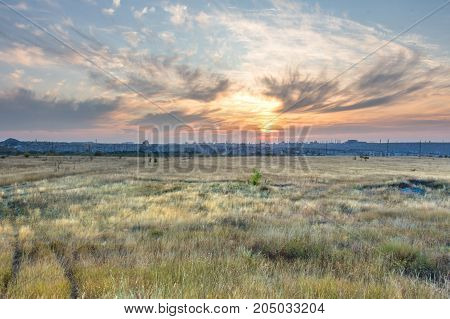 landscape, sky, meadow, field, clouds, sunset, space, city, sunset, evening, landscape, nature, sun, summer, evening, background,