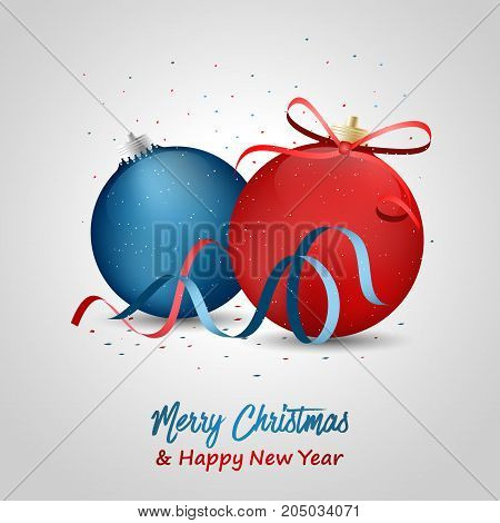 Merry Christmas And Happy New Year Greeting With Blue And Red Baubles, Bow And Ribbons.