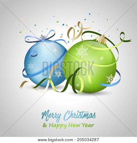 Merry Christmas and Happy New Year greeting card with blue and green baubles bow snowflakes and ribbons. Vector illustration.