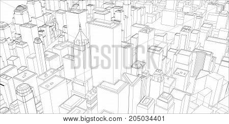 Wire-frame New York City, Blueprint Style. 3D Rendering Vector Illustration. Architecture Design Background