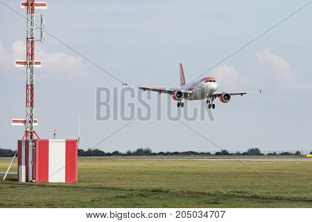 PRAGUE CZECH REPUBLIC - SEPTEMBER 20 2017: EasyJet Airline Airbus A319-111 lands to PRG Airport in Prague. EasyJet is the second-largest low-cost carrier in Europe.