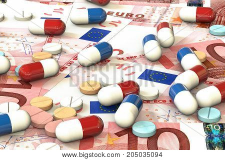 3d illustration: multi-colored tablets and pills lie on the background of euros money. Medical business concept. Selling medicines. Investment in the development of new drugs.