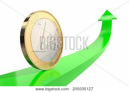 3d illustration: copper-nickel one euro coin on green arrow upward with reflecting surface on white background. Money. Quotes go down. Banking business concept. Investments, deposits, storage, cash.