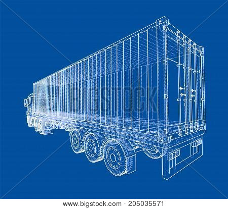 Truck with semitrailer. Vector rendering of 3d. Wire-frame style. The layers of visible and invisible lines are separated