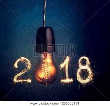2018 Written With Sparkle Firework And  Light Bulb , Abstract 2018 Happy New Year Background Concept