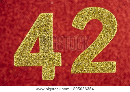 Number forty-two yellow color over a red background. Anniversary. Horizontal