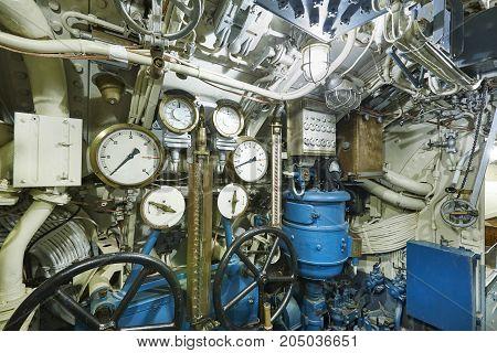 Second war world submarine interior. Military vessel. Horizontal