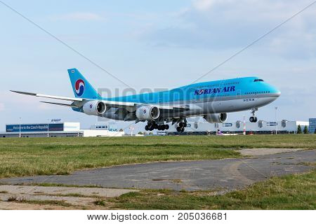PRAGUE CZECH REPUBLIC - SEPTEMBER 20 2017: B747 Korean Air landing to PRG in Prague Czech Republi. Blue top livery was introduced on in 1984. Airlines are flag carrier of South Korea.