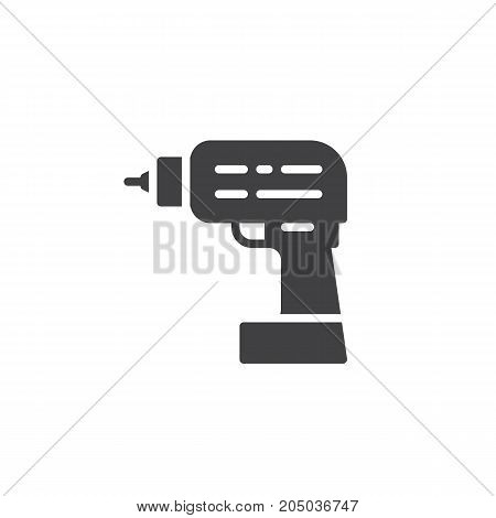 Drilling machine work tool icon vector, filled flat sign, solid pictogram isolated on white. Symbol, logo illustration.