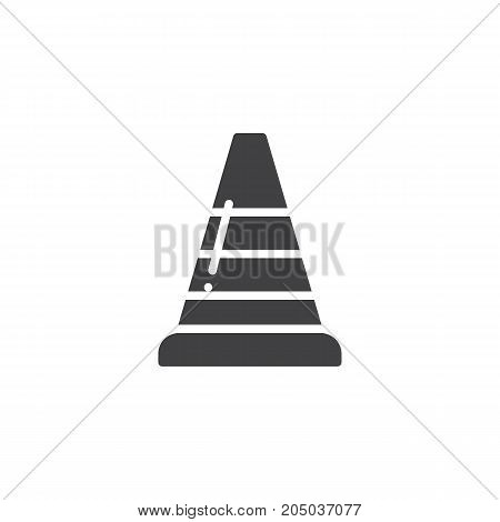 Traffic cone icon vector, filled flat sign, solid pictogram isolated on white. Symbol, logo illustration.