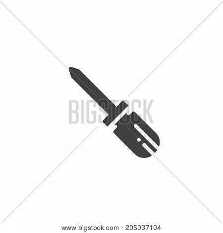 Screwdriver work tool icon vector, filled flat sign, solid pictogram isolated on white. Symbol, logo illustration.