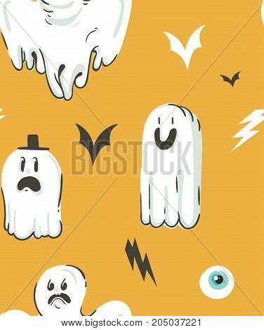 Hand drawn vector abstract cartoon Happy Halloween illustrations collection seamless pattern with different funny ghosts decoration elements isolated on orange background