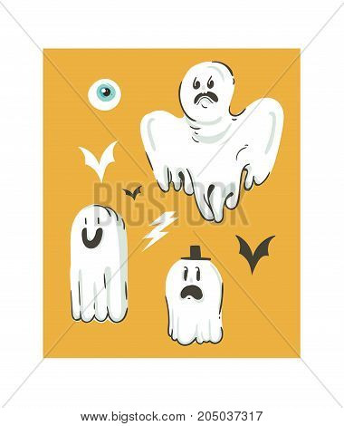 Hand drawn vector abstract cartoon Happy Halloween illustrations collection set with different funny ghosts decoration elements isolated on orange background