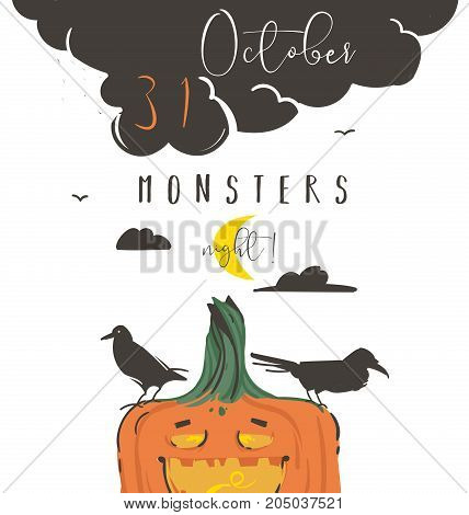 Hand drawn vector abstract cartoon Happy Halloween illustration poster with ravens, pumpkin, moon and modern calligraphy phase 31 october monsters night isolated on white background.
