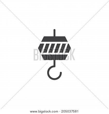 Crane hook icon vector, filled flat sign, solid pictogram isolated on white. Symbol, logo illustration.