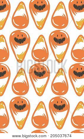 Hand drawn vector abstract cartoon Happy Halloween illustration seamless pattern with orange candy cones isolated on white background.