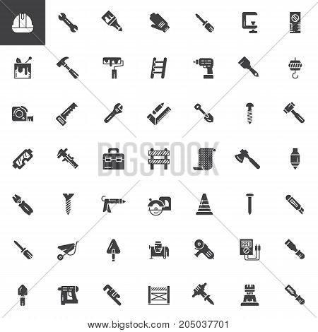 Work tools vector icons set, modern solid symbol collection, filled pictogram pack. Signs, logo illustration. Set includes icons as helmet, wrench, safety gloves, hammer, ruler, shovel