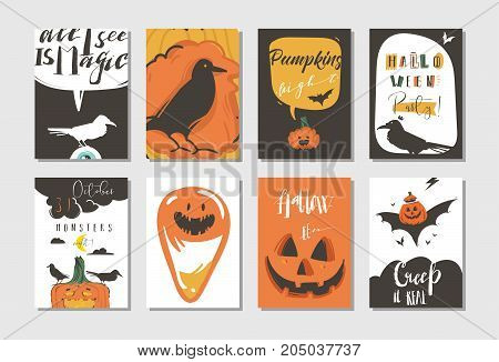 Hand drawn vector abstract cartoon Happy Halloween illustrations party posters and collection cards set with ravens, bats, pumpkins and modern calligraphy isolated on white background