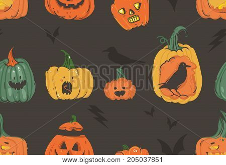 Hand drawn vector abstract cartoon Happy Halloween illustrations seamless pattern with pumpkins emoji horned lanterns monsters, bats and ravens isolated on white background