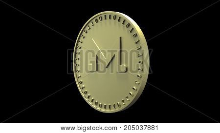 Gold coin with the symbol of Monero digital crypto currency and binary code rotates on the edge isolated on a black background 3d rendering
