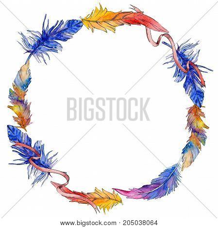 Watercolor bird feather wreath from wing. Aquarelle feather for background, texture, wrapper pattern, frame or border.