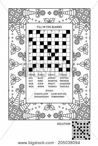 Puzzle and coloring activity page for grown-ups with criss-cross, or fill in, else kriss-kross word game (English) and wide decorative frame to color. Family friendly. Answer included.