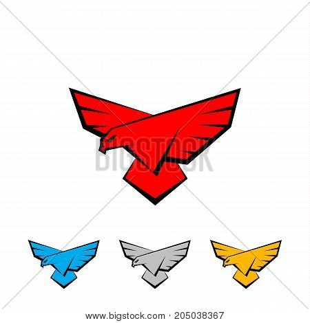 Falcon logo set. A bird with large wings is landing. Flat vector logo template with a bird of prey, falcon or eagle.