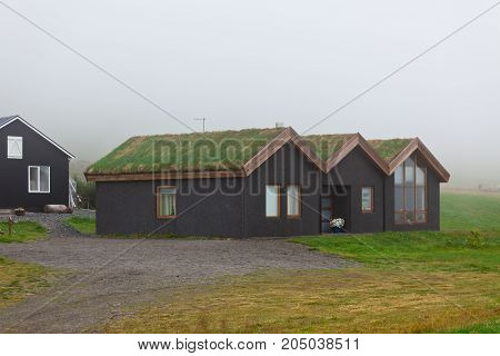 Rural Icelandic Cottage At Foggy Day