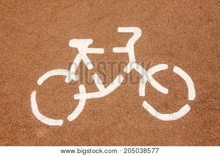 Bicycle road sign on the asphalt street
