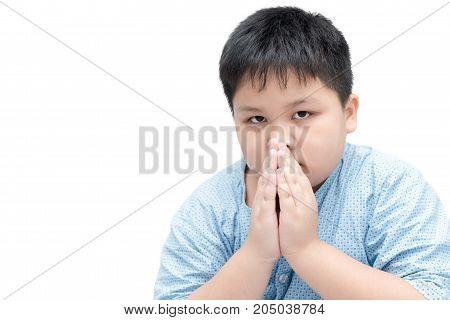 Little Asian Boy Spiritual Peaceful Praying Isolated