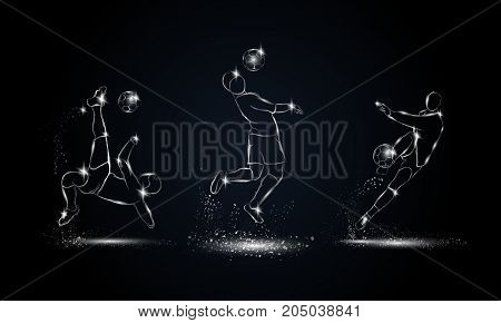 Soccer players set. Metallic linear football player illustration for sport banner, background and flyer.