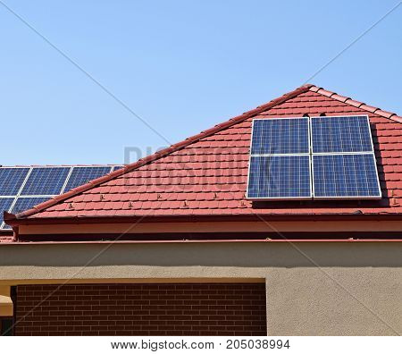 Soler panels on the roof of a house