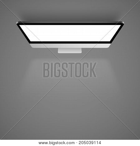 Monitor white light. Top view background. Vector illustration