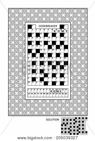 Puzzle and coloring activity page for grown-ups with codebreaker, or codeword, else code cracker word game (English) and wide decorative frame to color. Family friendly. Answer included.
