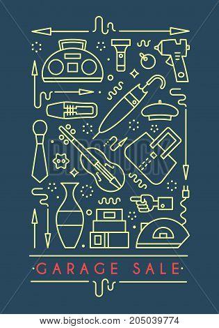 Garage sale sign. Template for poster banner flyer. Yard sale flyer template. Vector line style illustration.