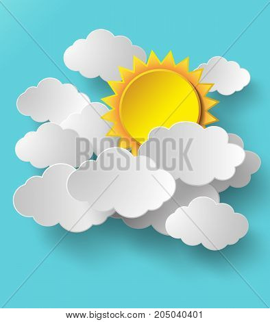 Vector sun with clouds background.sun and clouds illustration design.