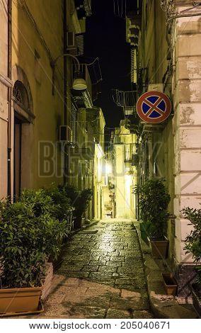 Night Ragusa Town Street View, Sicily, Italy