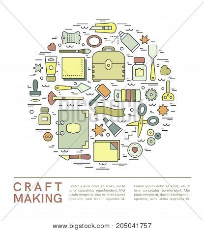Craft supplies poster. Template for flyer and banner. Poster for craft show and sale studio shop courses and workshops. Vector line style illustration.