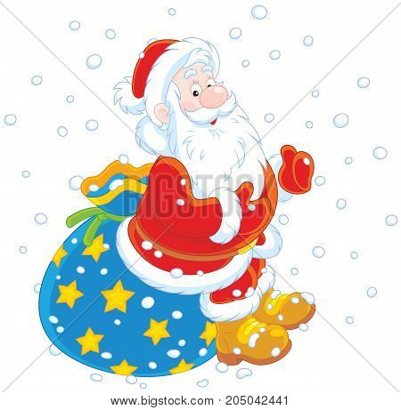 Vector illustration of Santa Claus sitting on the sackful of Christmas presents
