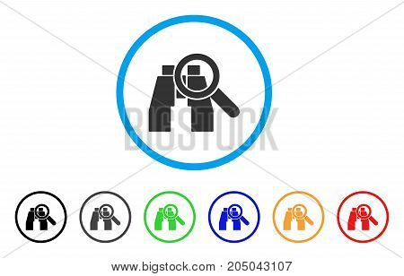 Binoculars Find Tools rounded icon. Style is a flat binoculars find tools grey symbol inside light blue circle with black, gray, green, blue, red, orange versions.