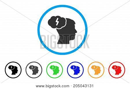 Brainstorm rounded icon. Style is a flat brainstorm gray symbol inside light blue circle with black, gray, green, blue, red, orange versions. Vector designed for web and software interfaces.