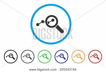 Explore Stats rounded icon. Style is a flat explore stats grey symbol inside light blue circle with black, gray, green, blue, red, orange versions. Vector designed for web and software interfaces.