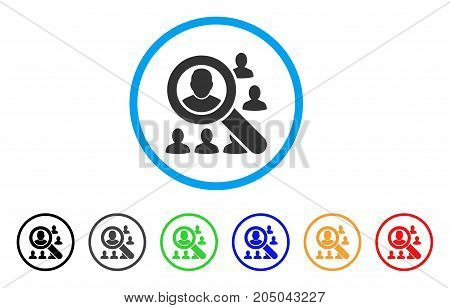 Find Users rounded icon. Style is a flat find users grey symbol inside light blue circle with black, gray, green, blue, red, orange versions. Vector designed for web and software interfaces.
